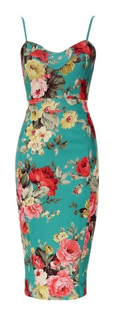 Forever Womens Celebrity Inspired Floral Strappy Bodycon Midi Dress