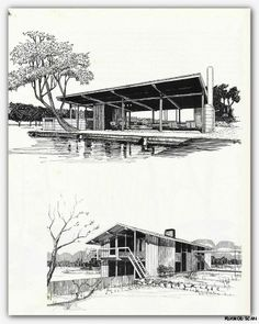 1960 Architectural Drawing Rendering Mid Century Modern Retro Vintage Atomic   eBay