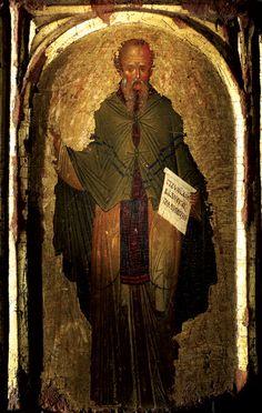 Saint Euthymius the Great, beginning of XV century, Holy Monastery of Hilandar, Mount Athos, Greece Byzantine Icons, Byzantine Art, Religious Icons, Religious Art, Fresco, Best Icons, Classic Paintings, Orthodox Icons, Sacred Art
