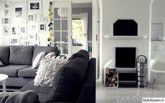 takka,valokuvakollaasi,kanto,olohuone,sohva,harmonia,harmaa,valkoinen,musta