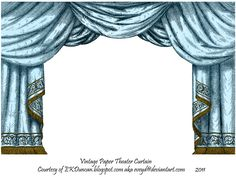 Aqua Paper Theater Curtain by EveyD