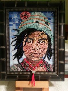 Mosaic Portrait using Smalti, glass, silver and jade beads