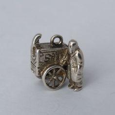 Organ & Monkey Charm. Vintage Sterling Silver Sid Organ Grinder Man and Street Cart Bracelet Charm/Pendant. by LittleVintageCharmCo on Etsy