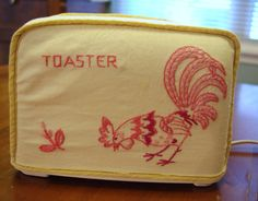 Vintage Embroidered  Toaster Cover Pink Rooster by soldiersuzanne