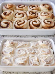 Small batch cinnamon rolls recipe with dough baked and frosted in white pan. Cinammon Rolls, Best Cinnamon Rolls, Cinnamon Bread, Just Desserts, Dessert Recipes, Cafe Recipes, Small Desserts, Nutella, So Little Time