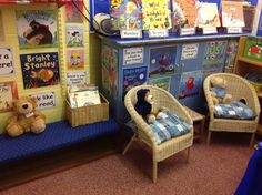 One half of our Book Corner. The  'Listening Bears' are waiting for the children to come and share a book with them! They have a label on a ribbon saying 'I like listening to stories.' Books read at storytime are displayed on bookstands with the days of the week labels attached. A  popular place to be in Class 1!