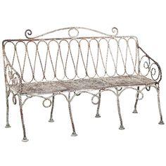 A French Late Century Iron Garden Bench Circa 1880 Modern Garden Furniture, Cool Furniture, Vintage Bench, Modern Chairs, Vanity Bench, Repurposed, Garden Benches, Antiques, 19th Century
