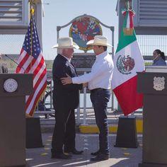 Presiden Gobernador García Cabeza de Vaca y Comisionado de Agricultura de Texas, Miller, encuentro histórico en puente Internacional Laredo