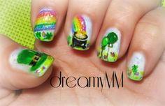 St. Patrick's Day Nail Art by dreamyMM - Nail Art Gallery nailartgallery.nailsmag.com by Nails Magazine www.nailsmag.com #nailart