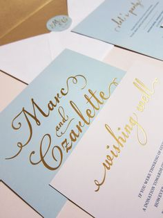 Light Tiffany Blue with Gold Foil Wedding Invitation - Deposit