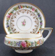 Unique Antique Dresden Demitasse Cup & Saucer / Trocadero