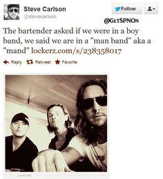 """""""man band"""" - Jensen Ackles  Jared Padalecki via Steve Carlson - 26 Aug 2012  ❤️❤️❤️❤️"""