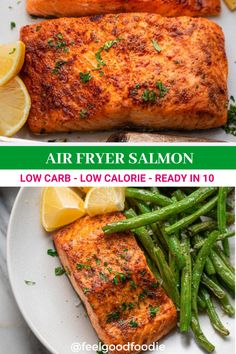 Cooking salmon in an air fryer results in the most tender, succulent and delicious piece of fish. Quick and easy! Ready in 10 minutes. Low carb, low calorie | Fish Recipes | Air Fryer Recipes | Ketogenic | Keto Recipes | Dinner Recipes | Feel Good Foodie Air Fryer Fish Recipes, Grilled Fish Recipes, Salmon Recipes, Grilling Recipes, Easy Family Meals, Easy Weeknight Meals, Easy Meals, Low Calorie Recipes, Keto Recipes