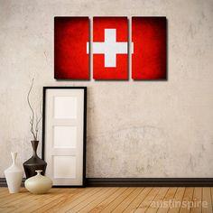 Switzerland Flag Triptych #wallart #wallart