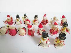 Lot-of-16-Vtg-Spun-Cotton-Chenille-Snowman-Santa-Claus-Christmas-Figures