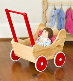 Their Size Wooden Doll Pram