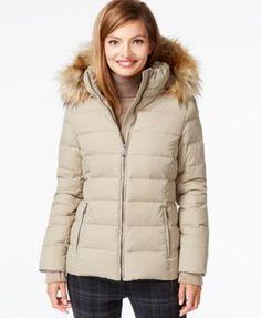 DKNY Faux-Fur-Trim Hooded Down Coat