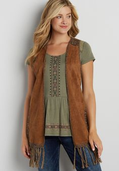 faux suede and knit vest with fringe | maurices