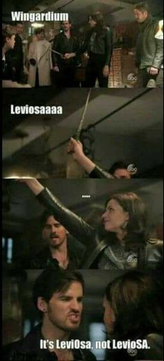Awesome Regina and Hook (Lana and Colin) doing Wingardium Liviosa from/in Harry Potter #Once #S4