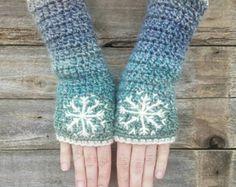 Guantes sin dedos con copo de nieve, azul, Aqua, crema, perneras, guantes de las mujeres, caliente, bordado, Boho, Hippie, bohemio, hecho por encargo