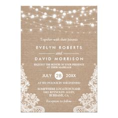 Backyard Wedding Invitations Rustic Country Burlap String Lights Lace Wedding Ca… Backyard Wedding Invitations, Country Wedding Invitations, Rehearsal Dinner Invitations, Wedding Rehearsal, Rustic Invitations, Wedding Invitation Wording, Wedding Favors, Wedding Backyard, Rehearsal Dinners