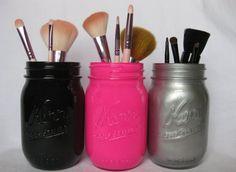 Use mason jars as brush holders