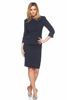 StarShinerS--LaDonna darkblue office lady set with inside Ungur-- Office Ladies, Peplum Dress, Dark Blue, Costume, Lady, Collection, Dresses, Style, Fashion