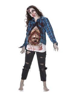 Zombie Kostüm für Damen - Halloween: Dieses Zombie Kostüm für Damen besteht aus einem Hemd und einem Top (Schminke und Hose nicht inbegriffen).Das blau karierte Hemd ist mit Blutflecken verziert. Es kann vorn mit...