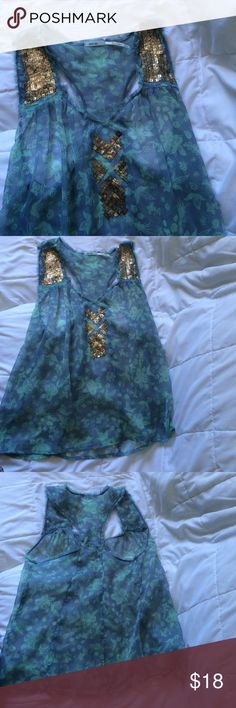 Small Kimchi Blue sheer top. Excellent condition.  Love the unique beading. Kimchi Blue Tops Blouses