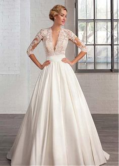 Marvelous Tulle & Satin Queen Anne Neckline A-line Wedding Dresses with Lace Appliques #wintersale