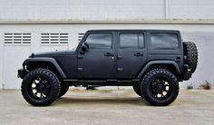 Jeep Wrangler 4 Door. Matte black 4door jeep wrangler: Riding, Black And Pink Jeeps Wranglers, Jeeps Stuff