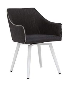 Amazon.com: Calico Designs Sydney Swivel, Mid Back Home Office Accent Chair with Arms, No Casters, in White Metal Legs/Crinkled Patterned Dark Gray Faux Leather with Stitching Detail, Grey: Kitchen & Dining
