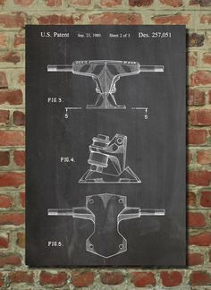 Skateboard Trucks Patent Poster, Skateboard Decor, Skate Art, Vintage Skateboard PP385 by PatentPrints on Etsy https://www.etsy.com/listing/168934903/skateboard-trucks-patent-poster