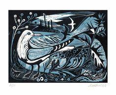 Sea Change Linocut by Mark Hearld Art And Illustration, Linocut Prints, Art Prints, Block Prints, Wood Engraving, Wildlife Art, Woodblock Print, Bird Art, Painting & Drawing