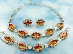 Vintage Hattie Carnegie Stunning Citrine Necklace Bracelet & Earring from butterflyblue on Ruby Lane