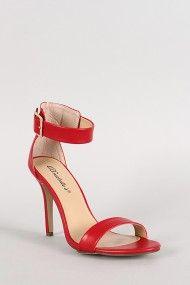 Breckelle Leatherette Ankle Buckle Open Toe Heel