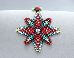 Seed Beaded Necklace, Mandala Necklace. Four Directions Star. Indian Beadwork.