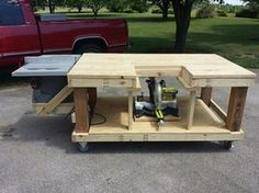 Woodworking Workbenches Mobile Workbench, Table Saw and Miter Saw is moveable. *by Eric Table Saw Workbench, Workbench Plans, Woodworking Workbench, Woodworking Shop, Woodworking Crafts, Garage Workbench, Mobile Workbench, Sliding Table, Diy Garage