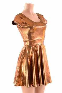 This item is made to order, please read all the way through the listing before purchasing!  Bright copper metallic dress, just as shiny as a new penny! Pair with gizmo and gadget accessories, and you have the perfect steampunk costume. The four way stretch lycra spandex is comfortable and figure flaunting. And SHINY! The top is darted for a sexy fit and flare silhouette, with a scoop front and back neckline. The hemline is a full circle cut, for tons of flirty, swingy movement when you walk…