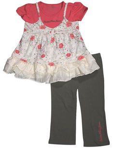 Calvin Klein - Little Girls' Short Sleeve Capri Pant Set, Melon, Ivory, Olive, Top Cotton/Polyester Blend Capri 95% Cotton 5% Spandex 31982-5. Item 31982. Calvin Klein. Machine Wash, Tumble Dry. True to Size.