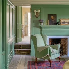 """Farrow & Ball on Instagram: """"#CalkeGreen is a clean sage green, inspired by the breakfast room at Derbyshire's historic Calke Abbey. We love how its rich notes are…"""" Velvet Furniture, Green Furniture, Dyi, Style Lounge, Georgian Homes, Décor Boho, Scandinavian Living, Built In Shelves, Cottage Interiors"""