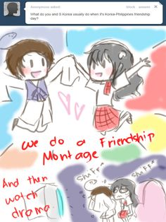 In a nutshell for them lol Art(c)~KikuruHano Ask Piri-Tan [link] Ask Philippines No. Hetalia Philippines, Hetalia Funny, Hetalia Characters, Country Art, Axis Powers, I Love To Laugh, Miraculous Ladybug, Drawing Tips, Doujinshi
