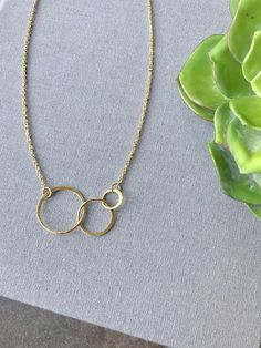 Three Circles Gold Necklace Triple Circle Necklace Dainty