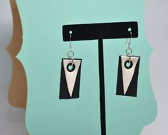 Modern black and white leather earrings by animuspanthera on Etsy