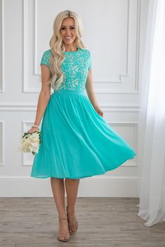 270fe72f2 Semi-Formal Modest Bridesmaid Dress in Turquoise Blue, Tiffany Blue or Aqua  Teal