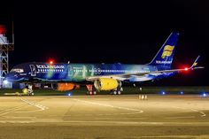 "Icelandair Boeing 757-256 wearing the ""Aurora Borealis"" livery (named TF-FIU; named ""Hekla Aurora"")"