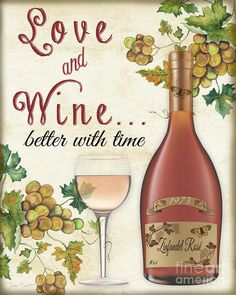 Love And Wine Art-jp3569 by Jean Plout
