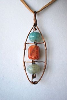 Fire Agate Stone Handcrafted Wire