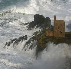 The Crowns at Botallack near St Just, Corwall, Englad, in a big sea