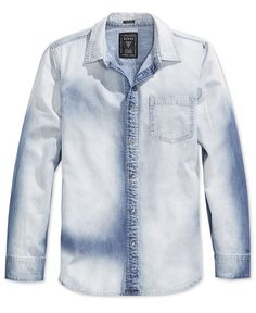 f17829846380 Guess Men s Slim-Fit Fieriness-Wash Long-Sleeve Denim Shirt Jean Shirt Men